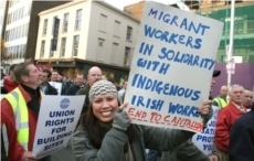 9.12.05.Dublin. Protest in support of Irish Ferries workers. ©Photo by Derek Speirs
