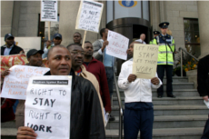 19.4.05. Dublin. Protest by Nigerian asylum seekers outside Leinster Hse & Dept of Justice asking for the right to stay & work and contribute to Irish society and some to stay with their families and Irish born children. ©Photo by Derek Speirs