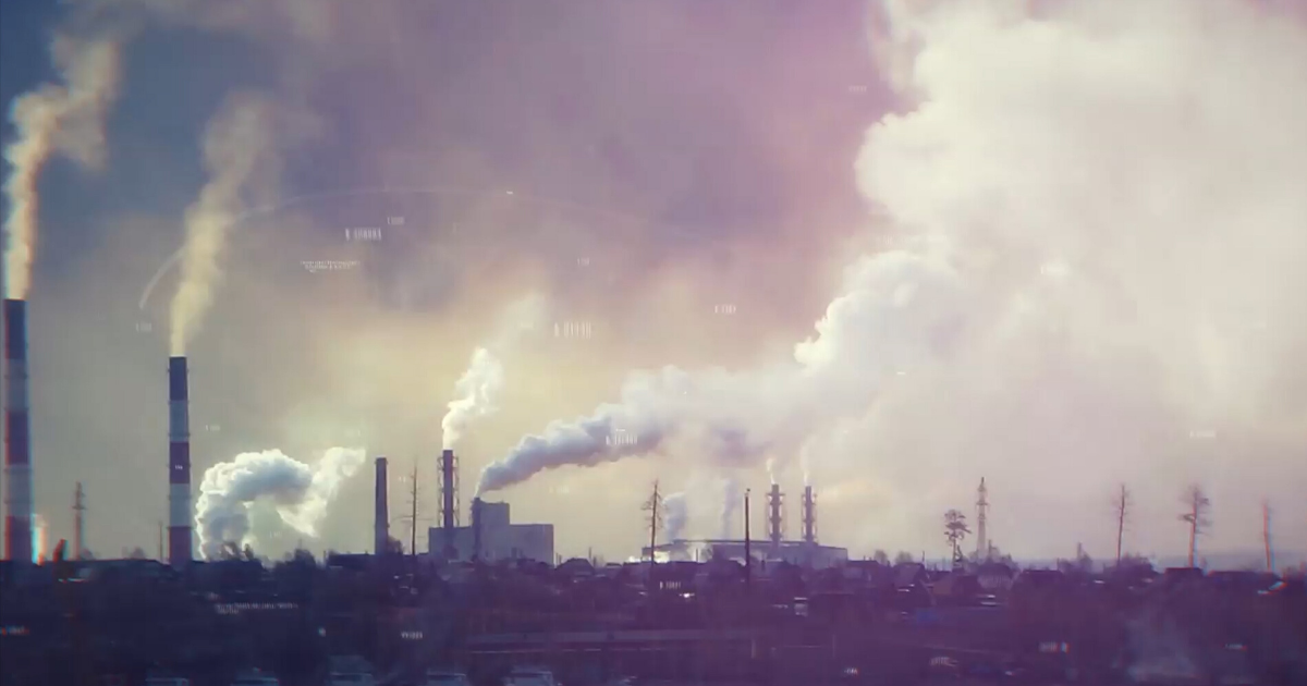 Emissions from an industrial refinery