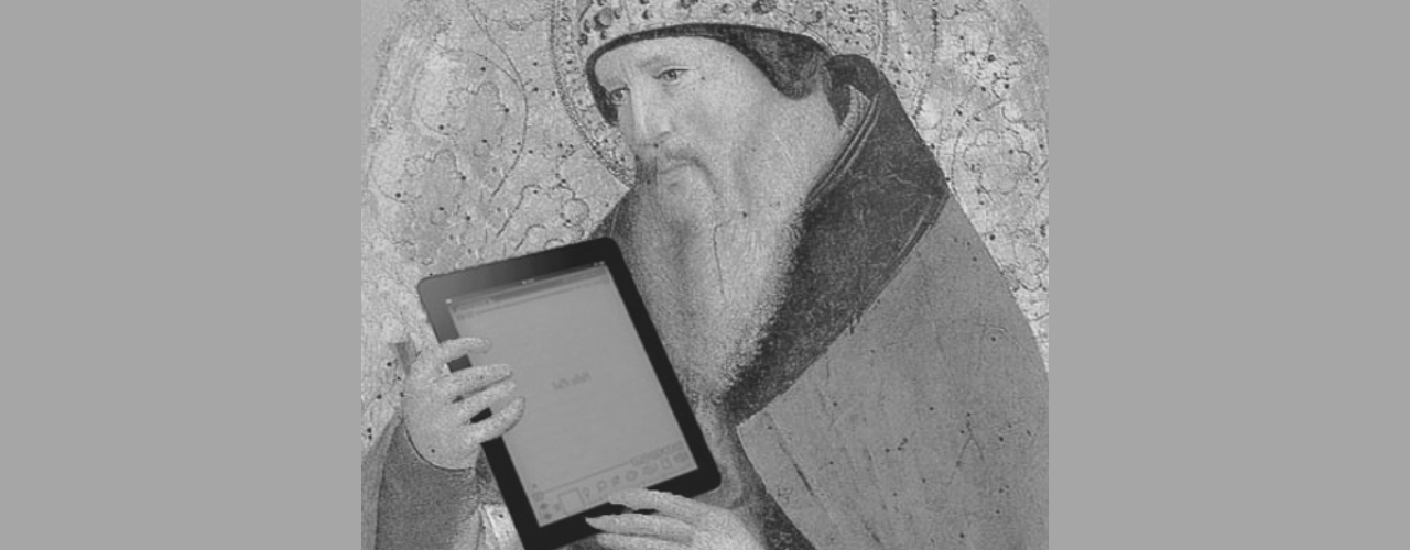 St Augustine with iPad